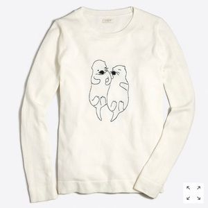 J. Crew NWT Embroidered Sea Otters Sweater S